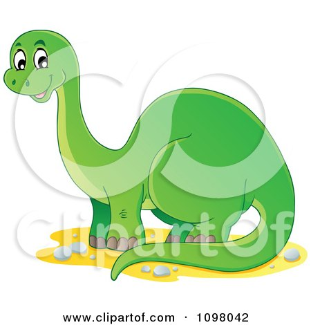 Clipart Happy Green Brontosaurus Dinosaur - Royalty Free Vector Illustration by visekart
