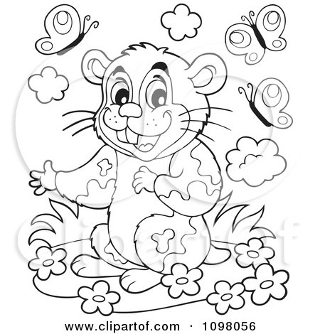 Clipart Cute Outlined Hamster With Flowers And Butterflies - Royalty Free Vector Illustration by visekart