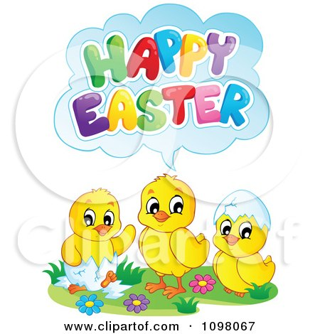 Clipart Cute Chicks Saying Happy Easter - Royalty Free Vector Illustration by visekart