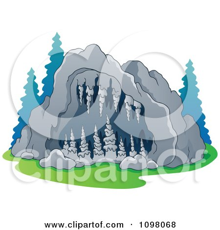 Clipart Exterior View Of A Cave Entrance With Formations - Royalty Free Vector Illustration by visekart