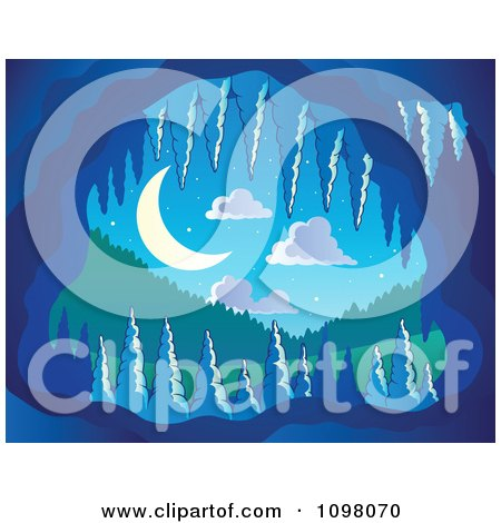 Clipart Speleothem Cave Formations At The Mouth With A Night Landscape View - Royalty Free Vector Illustration by visekart