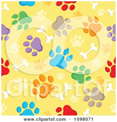 Clipart Seamless Background Of Animal Paw Prints And Bones On Yellow - Royalty Free Vector Illustration by visekart