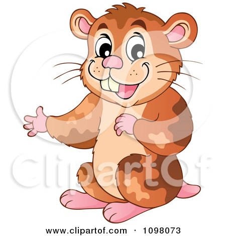 Clipart Cute Brown Hamster Presenting - Royalty Free Vector Illustration by visekart