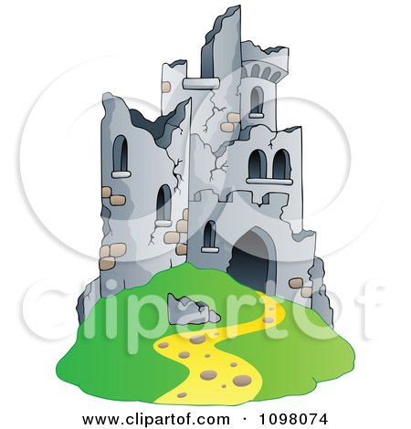 Clipart Hill Castle In Ruins - Royalty Free Vector Illustration by visekart