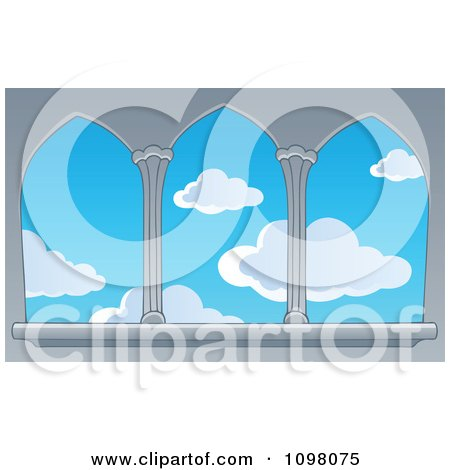 Clipart View Of A Blue Sky With Puffy Clouds Through Castle Windows - Royalty Free Vector Illustration by visekart