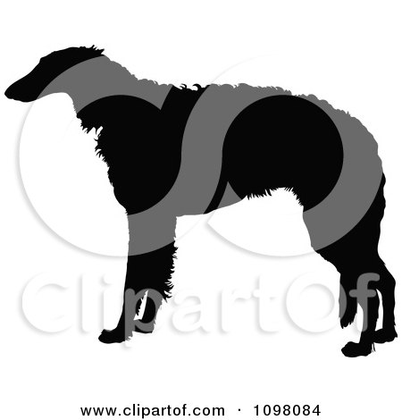 Clipart Silhouetted Borzoi Dog In Profile - Royalty Free Vector Illustration by Maria Bell