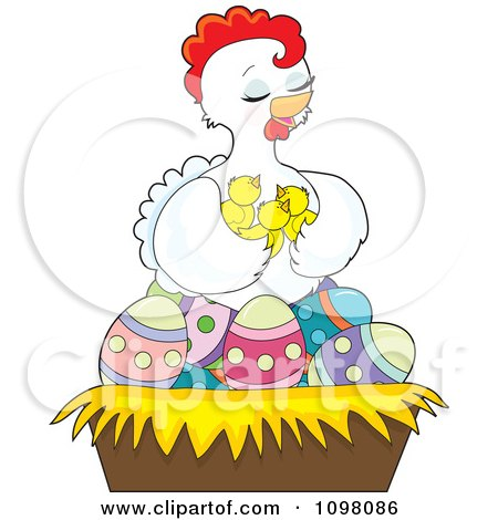 Clipart Loving White Hen Holding Her Chicks In A Nest Of Easter Eggs - Royalty Free Vector Illustration by Maria Bell