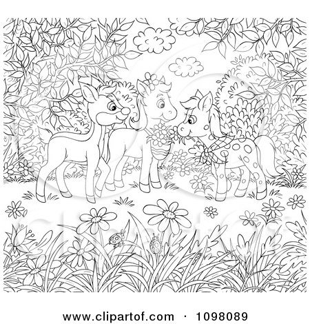 Clipart Coloring Page Of Horses And A Deer In A Meadow - Royalty Free Illustration by Alex Bannykh
