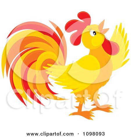 Clipart Crowing Orange And Red Rooster - Royalty Free Vector Illustration by Alex Bannykh
