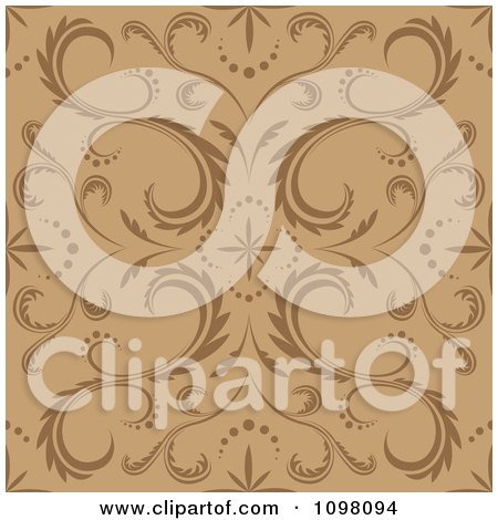 Clipart Seamless Brown And Tan Floral Pattern - Royalty Free Vector Illustration by dero