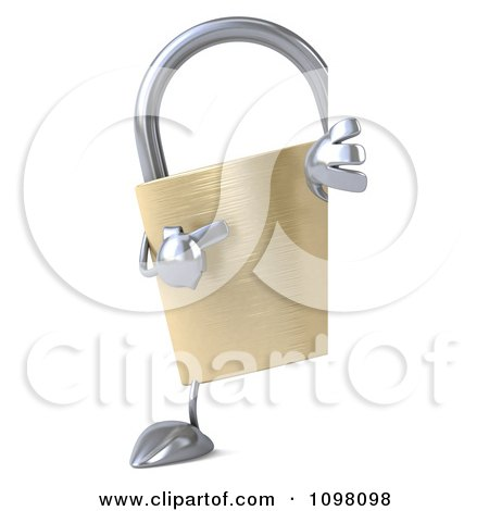 Clipart 3d Golden Padlock With A Sign 8 - Royalty Free CGI Illustration by Julos