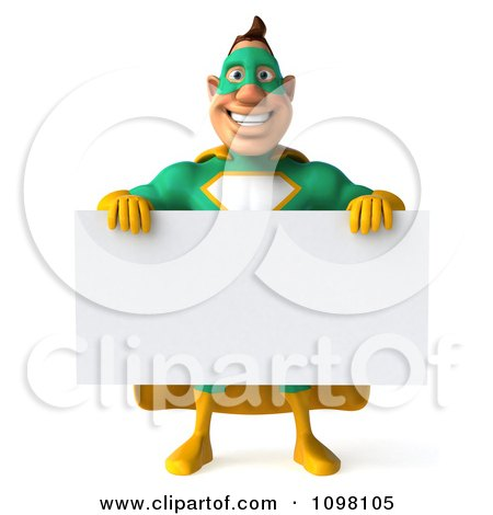 Clipart 3d Super Hero Man In A Green And Yellow Costume With A Sign 5 - Royalty Free CGI Illustration by Julos
