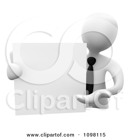 Clipart 3d White Businessman Presenting A Blank Board - Royalty CGI Illustration by 3poD