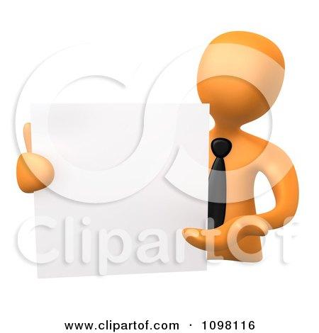 Clipart 3d Orange Businessman Presenting A Blank Board - Royalty CGI Illustration by 3poD