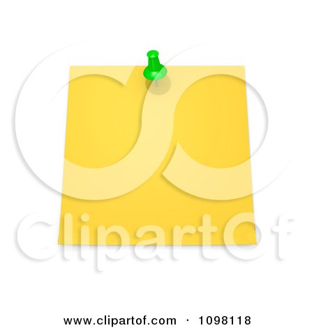 Clipart 3d Blank Yellow Memo Note With A Green Drawing Pin - Royalty Free CGI Illustration by 3poD