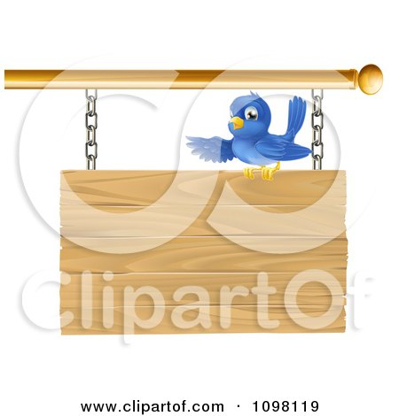 Clipart Cute Bluebird Perched On And Presenting A Hanging Wooden Sign - Royalty Free Vector Illustration by AtStockIllustration