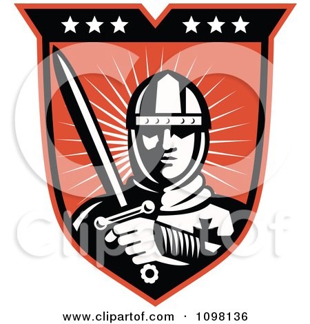 Clipart Retro Knight Crusader With A Sword On A Shield - Royalty Free Vector Illustration by patrimonio