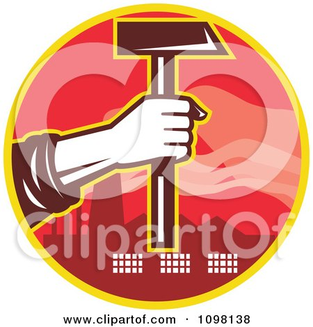 Clipart Factory Laborer Hand Holding Out A Hammer - Royalty Free Vector Illustration by patrimonio