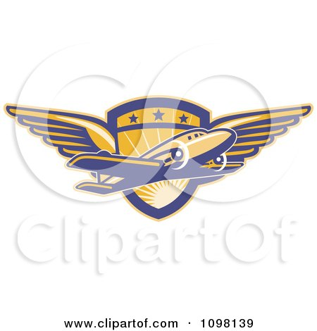 Clipart Retro Commercial Airliner Plane Over A Winged Pilot Shield - Royalty Free Vector Illustration by patrimonio