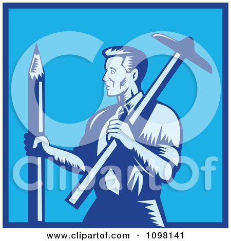 Clipart Retro Woodcut Blue Draftsman Architect Holding A Large Pencil And T-Square - Royalty Free Vector Illustration by patrimonio