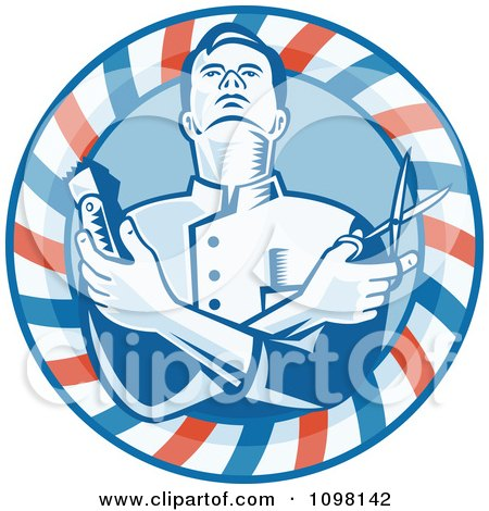 Retro Woodcut Styled Barber Holding Clippers And Scissors In A Striped Circle Posters, Art Prints