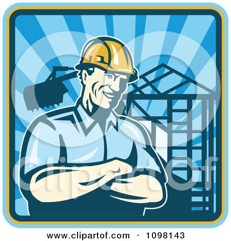 Clipart Retro Construction Worker Foreman Smiling With Folded Arms With A Home Being Built In The Background - Royalty Free Vector Illustration by patrimonio
