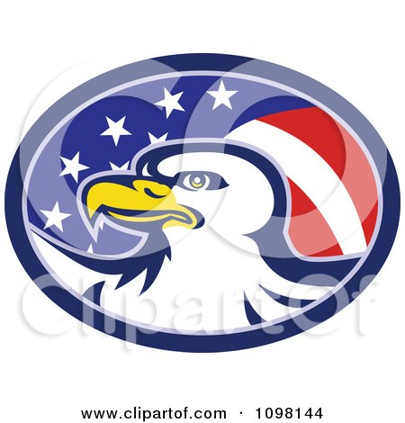 Clipart American Flag Oval And Bald Eagle - Royalty Free Vector Illustration by patrimonio