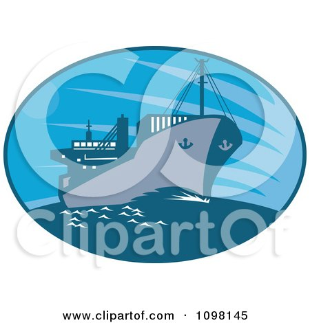 Clipart Blue Oval With A Cargo Ship - Royalty Free Vector Illustration by patrimonio