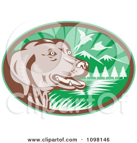 Clipart Retro Chocolate Lab Dog By A Lake With Pheasants Flying In A Green Ova - Royalty Free Vector Illustration by patrimonio