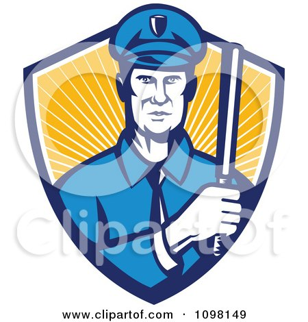 Clipart Retro Police Officer Holding A Baton In A Shield Or Rays - Royalty Free Vector Illustration by patrimonio