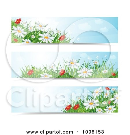 Clipart Three Spring Time Daisy Flower Website Banners - Royalty Free Vector Illustration by MilsiArt
