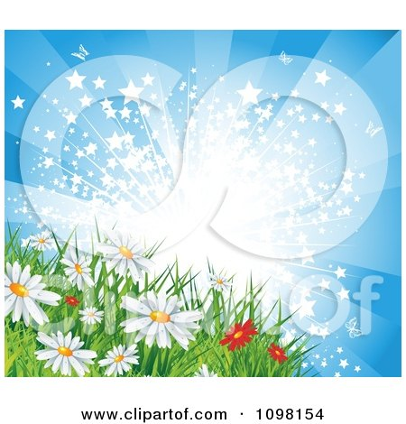 Clipart Starry Sunburst Over Spring Or Summer Daisy Flowers In A Meadow - Royalty Free Vector Illustration by MilsiArt