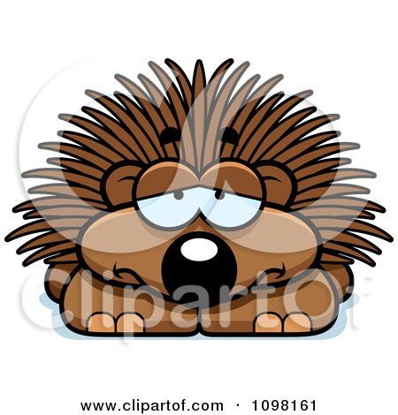 Clipart Depressed Porcupine - Royalty Free Vector Illustration by Cory Thoman