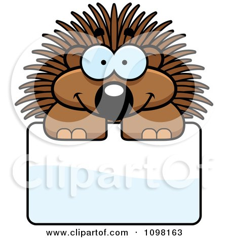 Clipart Happy Porcupine Over A Sign - Royalty Free Vector Illustration by Cory Thoman
