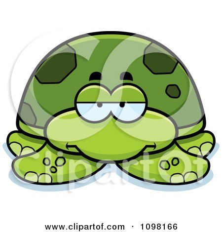 Clipart Bored Green Sea Turtle - Royalty Free Vector Illustration by Cory Thoman