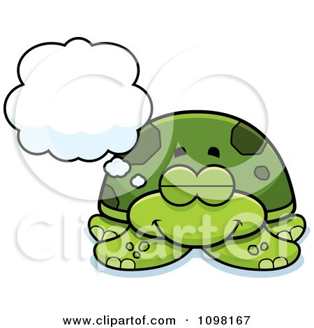 Clipart Dreaming Green Sea Turtle - Royalty Free Vector Illustration by Cory Thoman