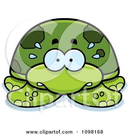 Clipart Scared Green Sea Turtle - Royalty Free Vector Illustration by Cory Thoman