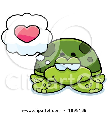 Clipart Green Sea Turtle In Love - Royalty Free Vector Illustration by Cory Thoman