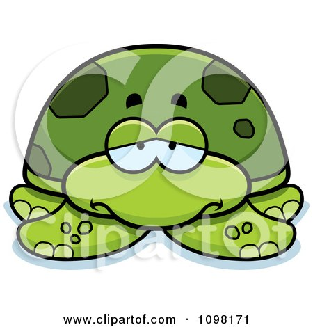 Clipart Depressed Green Sea Turtle - Royalty Free Vector Illustration by Cory Thoman