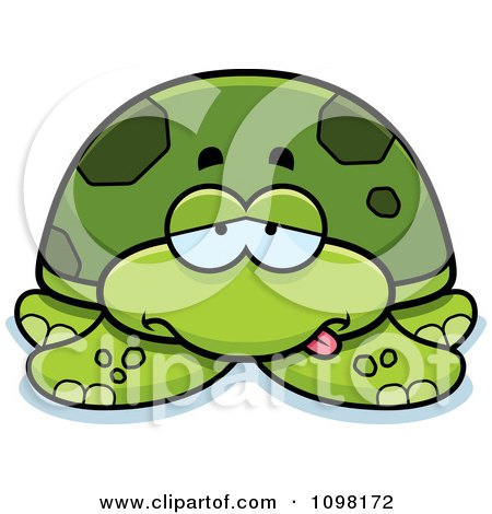 Clipart Sick Green Sea Turtle - Royalty Free Vector Illustration by Cory Thoman