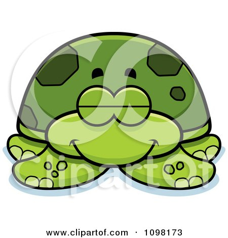 Clipart Sleeping Green Sea Turtle - Royalty Free Vector Illustration by Cory Thoman