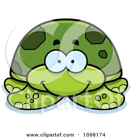 Clipart Happy Green Sea Turtle - Royalty Free Vector Illustration by Cory Thoman