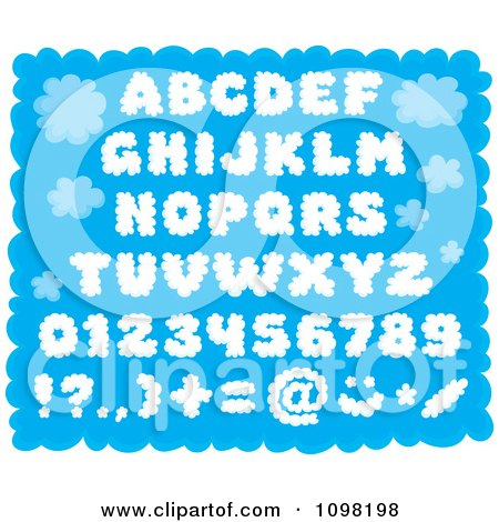 Clipart Puffy Cloud Capital Letters Numbers And Punctuation Design Elements Over Blue - Royalty Free Vector Illustration by Alex Bannykh