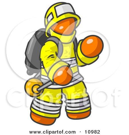 Orange Fireman in a Uniform, Fighting a Fire Posters, Art Prints