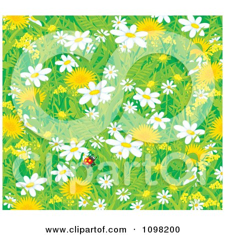 Clipart Background Of A Lone Ladybug With Spring Dandelion And Daisy Flowers - Royalty Free Vector Illustration by Alex Bannykh