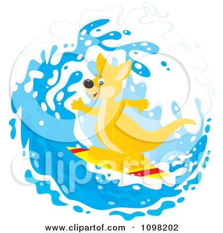Cute Kangaroo Surfing In A Wave Posters, Art Prints