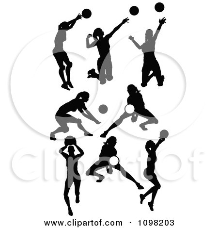 Clipart Black Silhouetted Female Volleyball Players - Royalty Free Vector Illustration by Chromaco