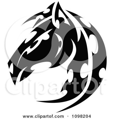 Clipart Black And White Tribal Horse Head In Profile - Royalty Free Vector Illustration by Chromaco