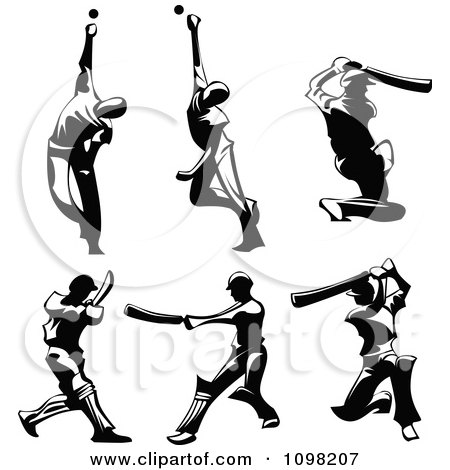 Bowling Cricket Drawing Black Silhouetted Male Cricket