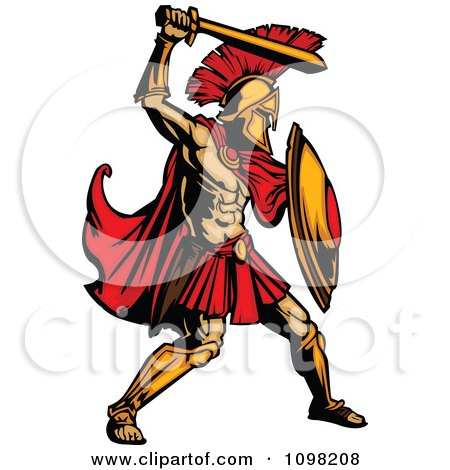 Clipart Strong Spartan Warrior Ready To Strike With His Gold Sword - Royalty Free Vector Illustration by Chromaco